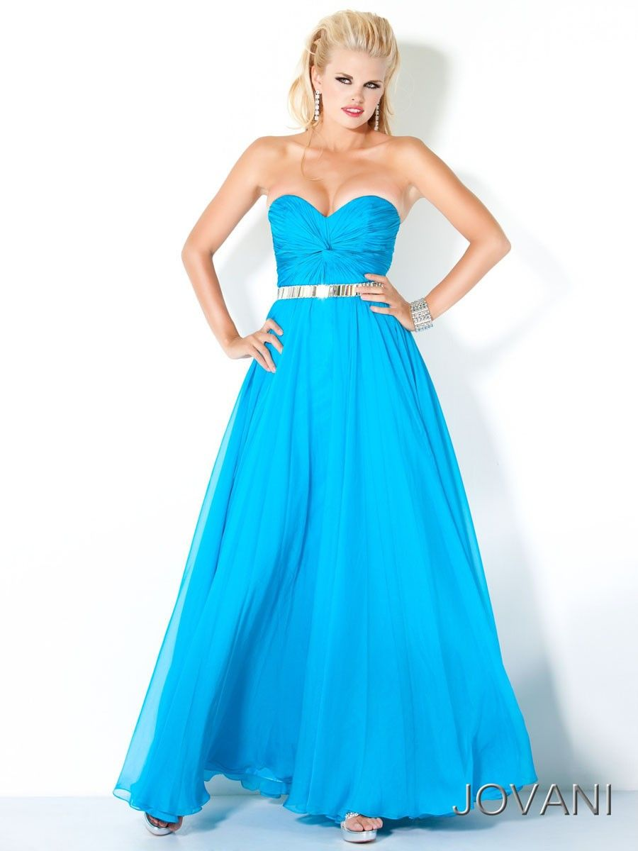 A-Line/Princess Light Blue Strapless Open Back Long Cheap Prom Dress ...