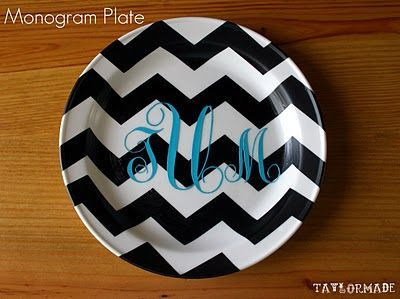 Silhouette project - monogram plate