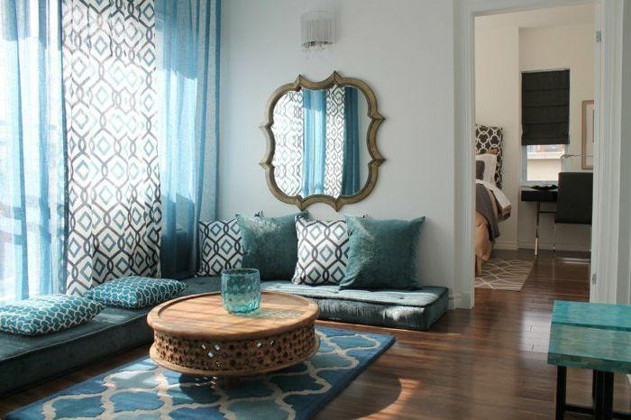 orientalische deko ideen wohnzimmer design einrichtung in weiß - wohnzimmer grau türkis