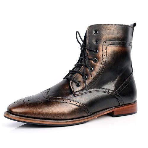 Metallic Bronze Retro Gothic Fashion Dress Brogue Ankle Boots Men SKU-1280470