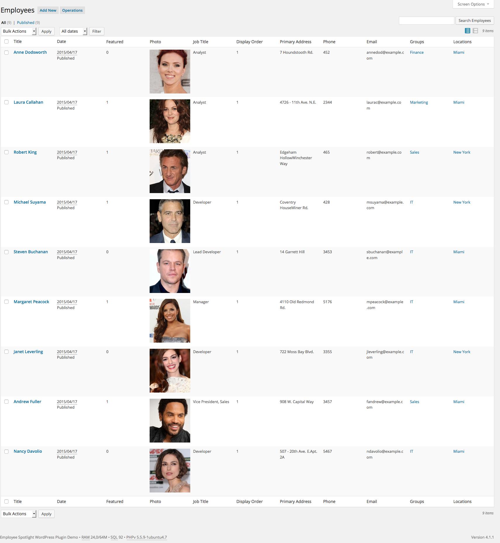 Employee Spotlight Pro Wordpress Plugin Admin Employee Profile