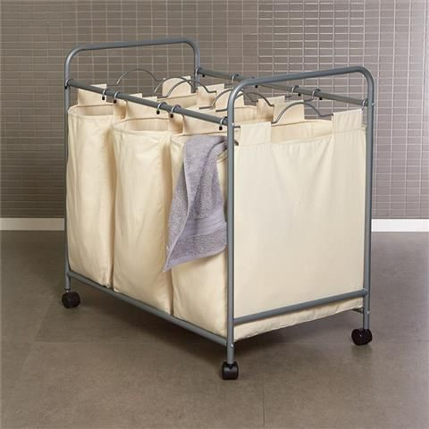 Large Laundry Sorter Triple Laundry Hamper  White  Kmart  Caravan Dreams  Pinterest