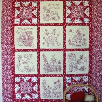 Show Details For Love Me My Cat Redwork Quilt Machine Embroidery