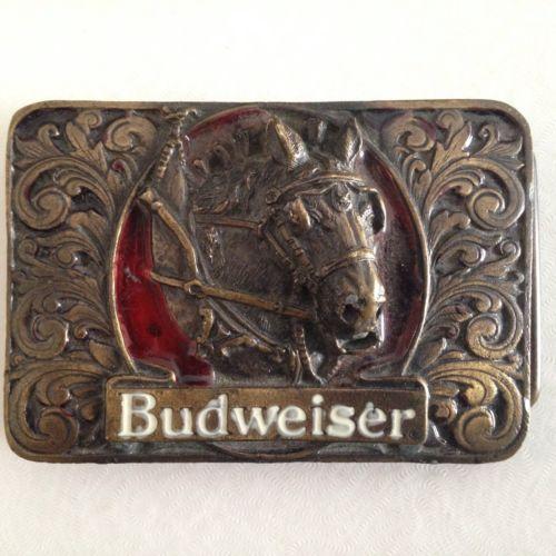 Budweiser Brass Clydesdale Belt Buckle Vintage USA Anheuser-Busch Bergamot 3D