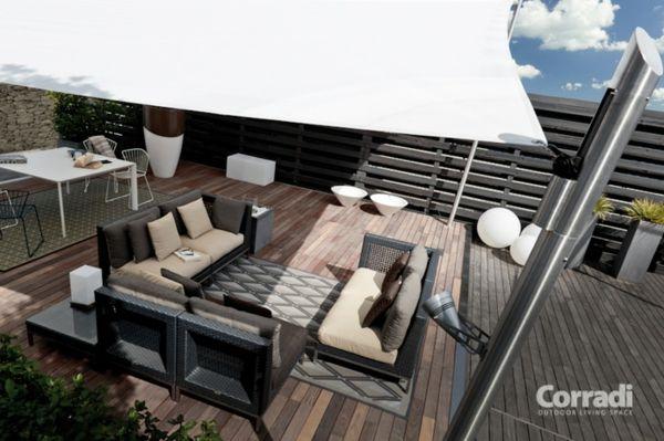 terrasse und garten sonnenschutz ideen sonnensegel und markisen verwenden gartengestaltung. Black Bedroom Furniture Sets. Home Design Ideas