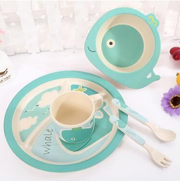 5pcs Set Character Baby Plate Bow Cup Forks Spoon Dinnerware Feeding Set 100 Bamboo Fiber Baby Children Tableware Set Y Tableware Set Tableware Dinnerware Set