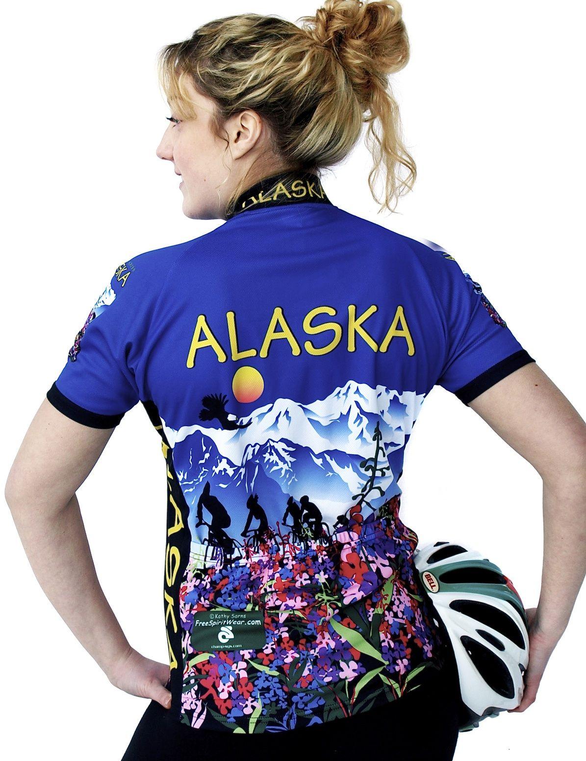 Womens Alaska Flower Jersey Women, Bike jersey, Spirit wear