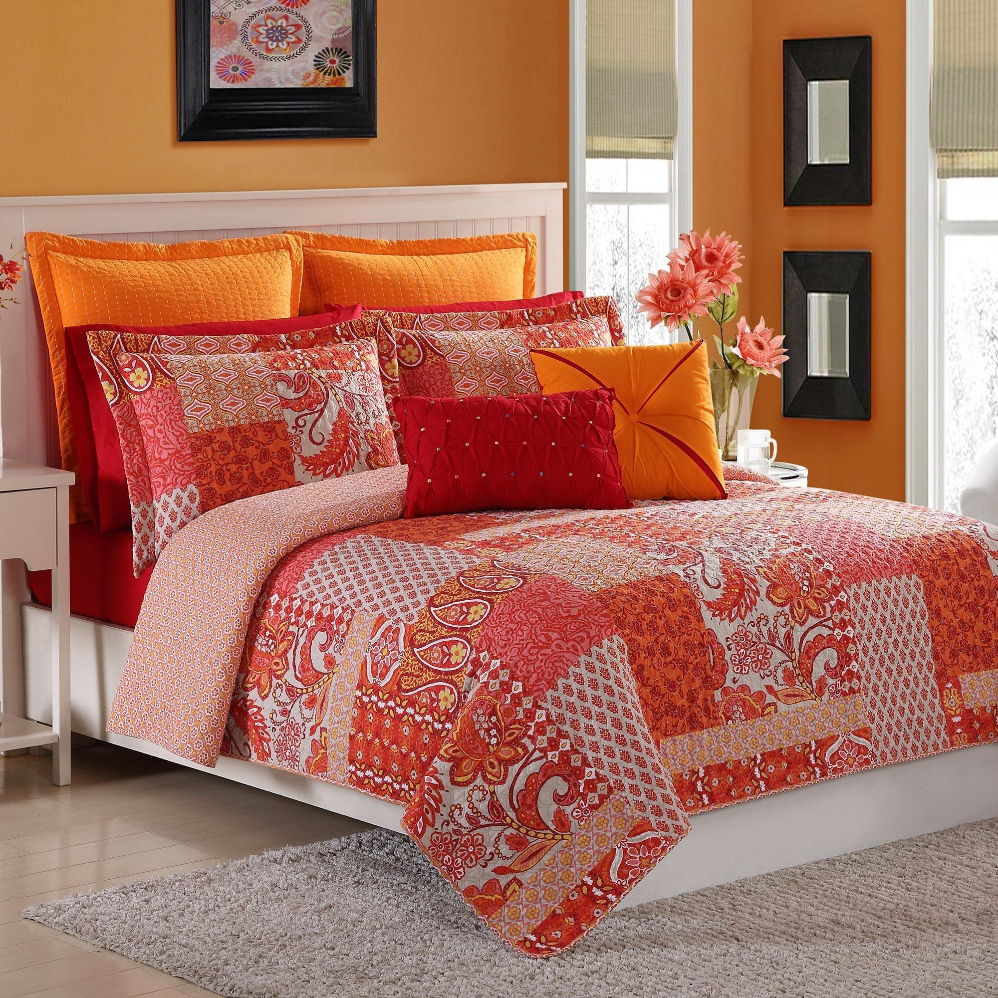 fiesta your bedroom red bohemian pin touch set add quilt and a to with marchia this orange