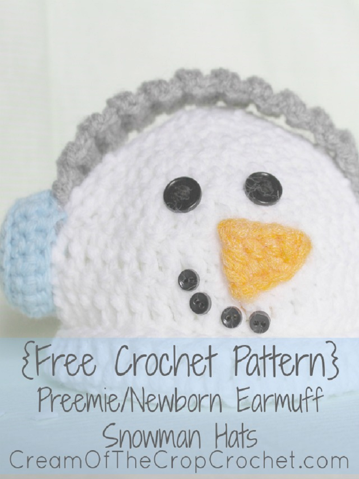 Preemie/Newborn Earmuff Snowman Hats Pattern | Crochet hat patterns ...