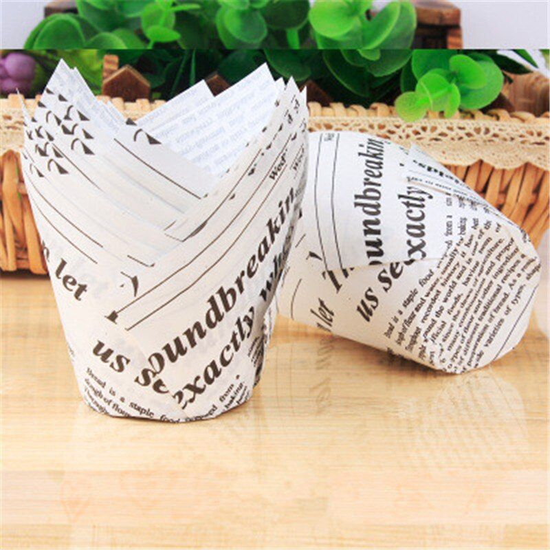 Disposable Tulip Muffin Cupcake Paper Cup Cake Stand Oilproof