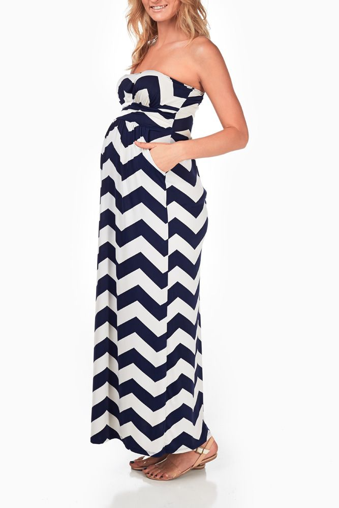 9643963620a57 Navy-Blue-White-Chevron-Maternity-Maxi-Dress | Baby #2 | Maternity ...