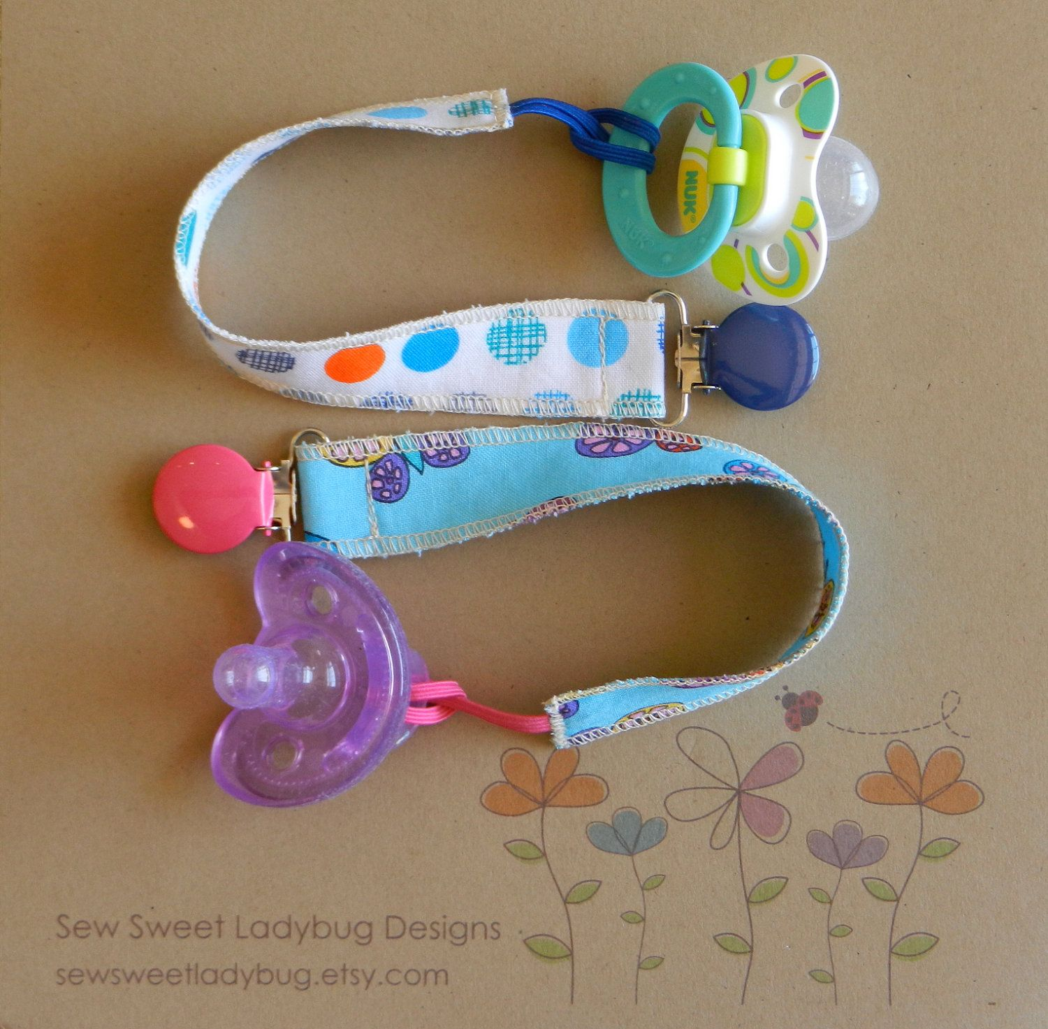 Soothie Fabric Pacifier Clip in Dear Stella Fabrics Summer Paisley Girl pacifier clip...