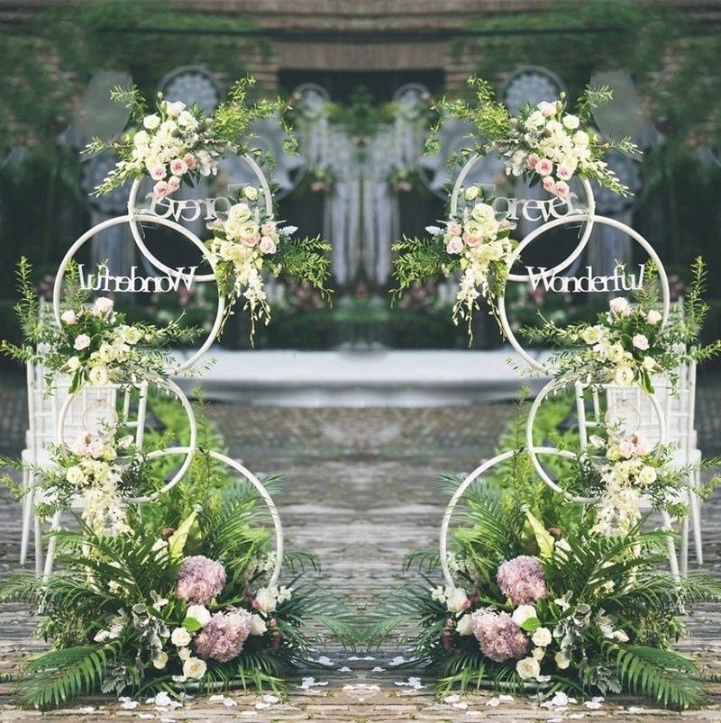 Wrought Iron Ring Road Lead Wedding Arch Background Ring Wedding Decoration Flower Frame Art Decoration is part of Wedding decorations -