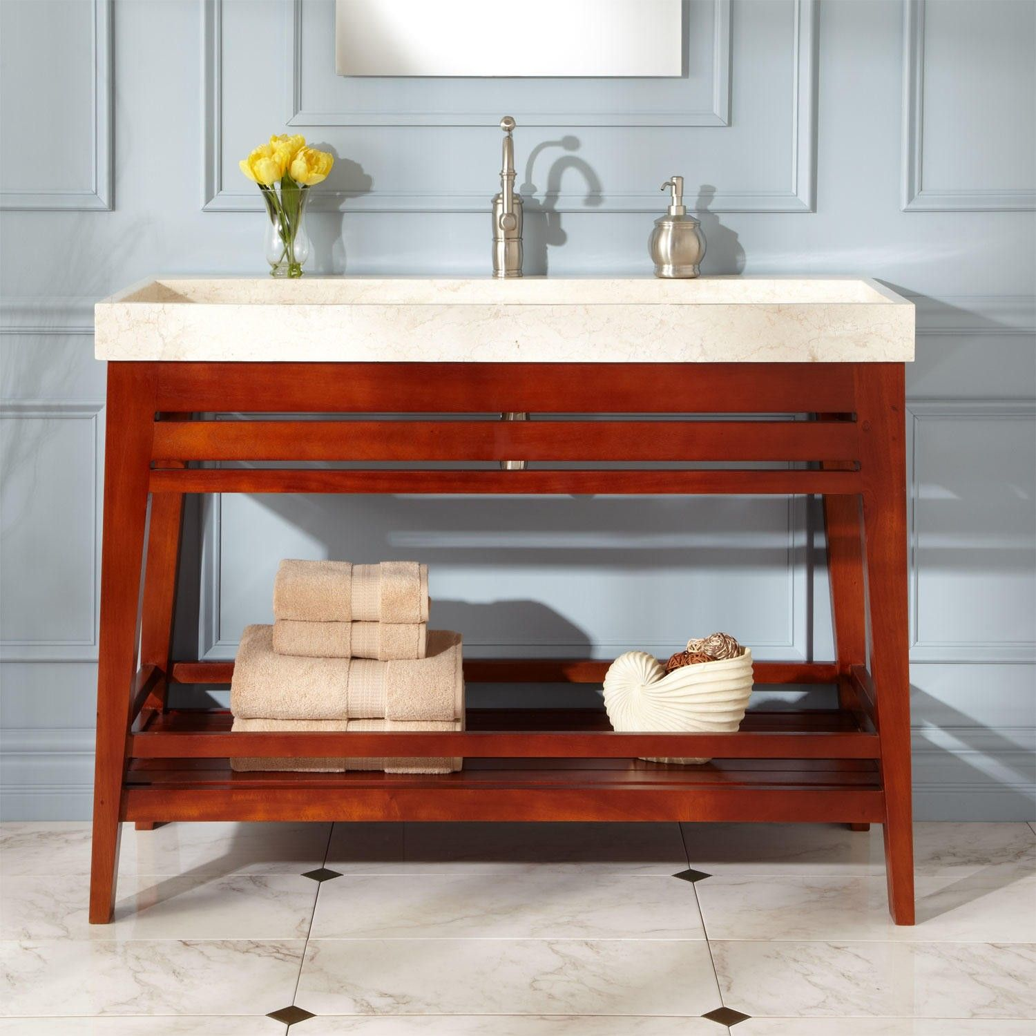 48 Aurelia Mahogany Trough Sink Vanity Can Ii Get Without The Predrilled Hole Bathroom Ideas