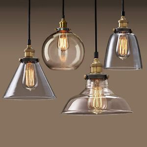 Modern Pendant Lamps Vintage Retro Style Gl Shade Chandelier Ceiling Light