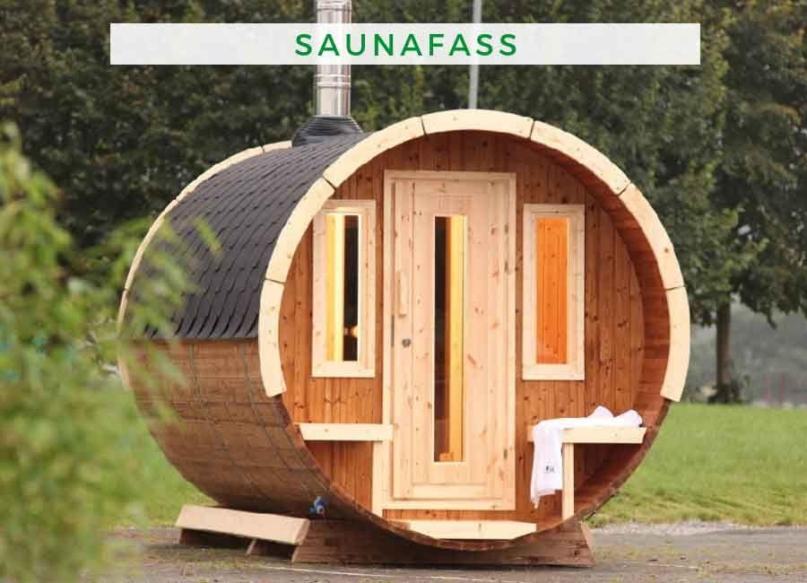 Wolff Finnhaus Saunafass 280 de luxe Thermoholz montiert