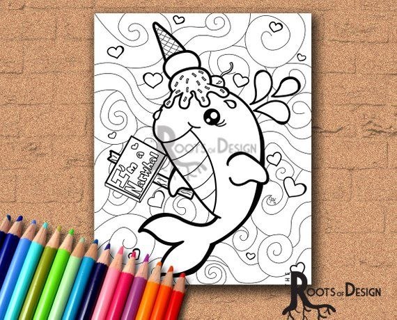 Instant Download Coloring Page Ice Cream Whale Disguised As A
