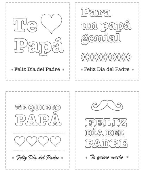 Tarjetas del Día del Padre para colorear | Día de los padres, Papás ...