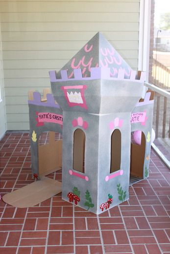 2nd birthday party birthday party ideas cardboard castle for Castle made out of cardboard boxes