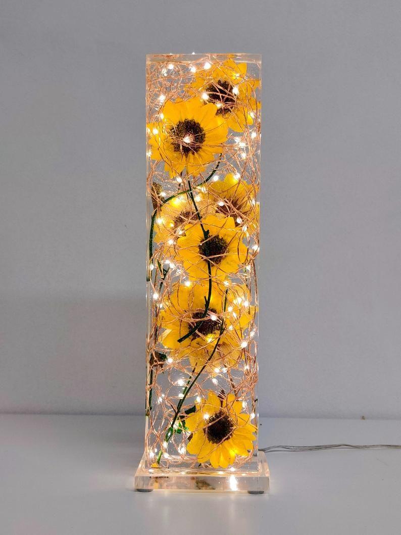 Photo of Sunflower lamp – Real sunflowers – Resin lamp – epoxy lamp