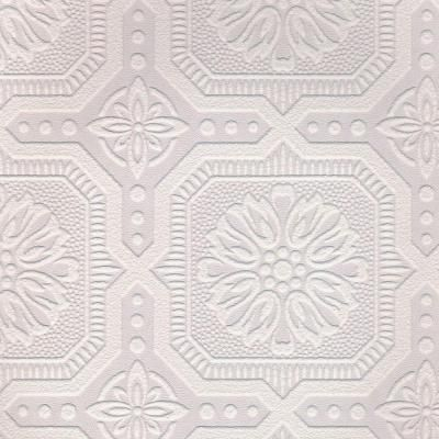 1 Double Roll Covers 56 Square Ft White Small Ceiling Tile Paintable Wallpaper