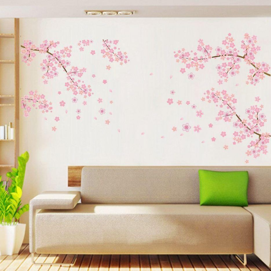 Living Room : Awesome Wall Decor Stickers Images With Pink Sakura ...