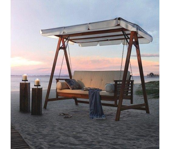 schicke hollywoodschaukel aus akazienholz ein ort zum wohlf hlen stylisch pinterest. Black Bedroom Furniture Sets. Home Design Ideas