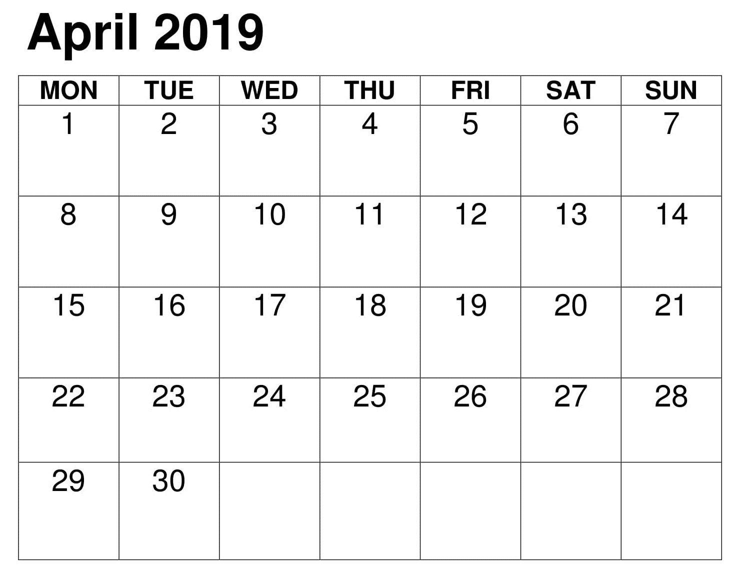 April Printable 2019 Table Calendar Calendar Printables