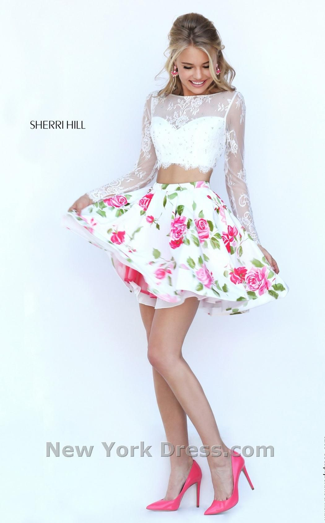 2016 Sherri Hill 50464 Ivory Short Two Piece Floral Prom Dresses