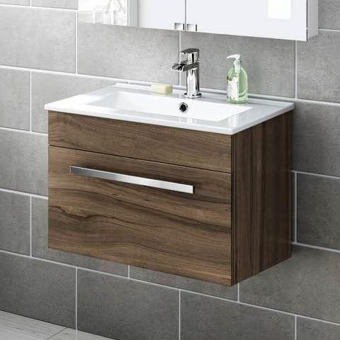 600mm Avon Walnut Effect Basin Cabinet