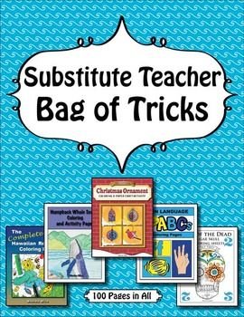 Substitute Teacher Bag Of Tricks Mega Coloring Sheet Bundle Substitute Teacher Bag Substitute Teacher Teacher Bags