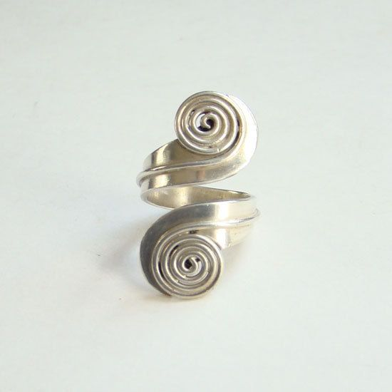 Vintage Taxco Mexico TC-208 Sterling Silver By Pass Wrap Ring Modernist Size 5.25 by redroselady on Etsy