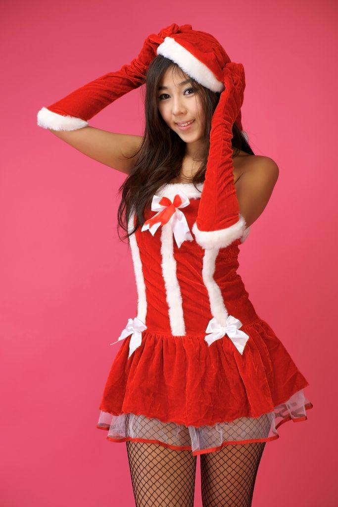 Sexy asiatische Mädchen Santa Hut #2