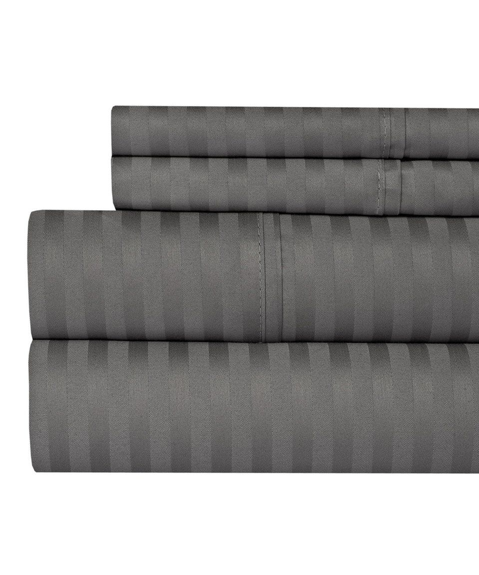 Take A Look At This Gray Damask Stripe Cotton Sheet Set Today