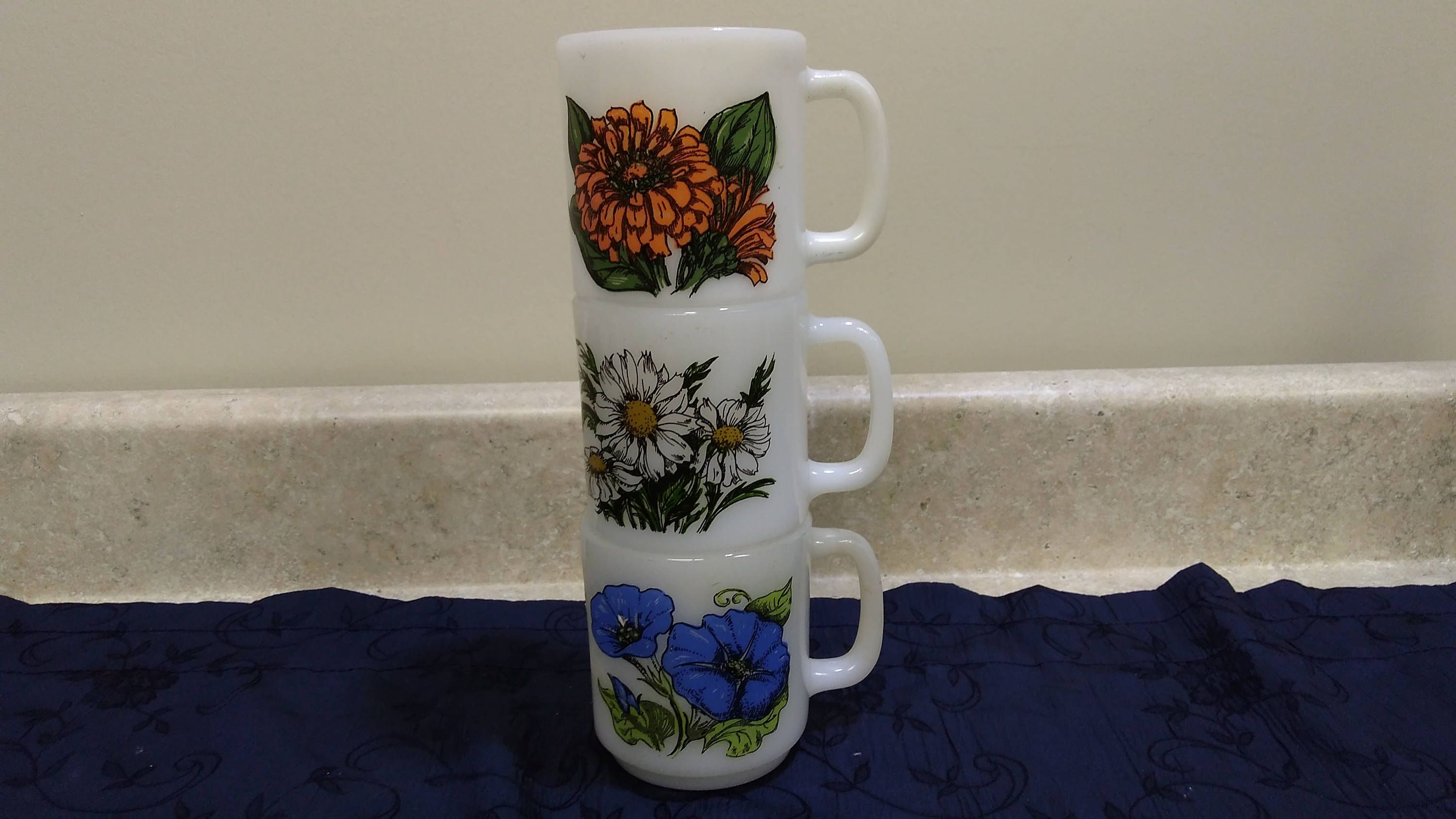 Glasbake Collection Of Flower Meaning Milk Glass Mugs