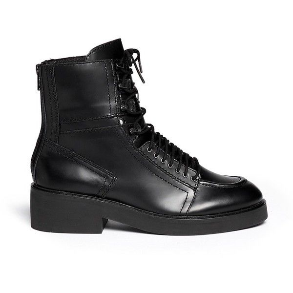 Ash 'Neal' lace-up leather combat boots (2 275 SEK) ❤ liked on Polyvore featuring shoes, boots, ankle booties, chaussure, black, lace up booties, lace up combat boots, black military boots, black lace up booties y black leather booties