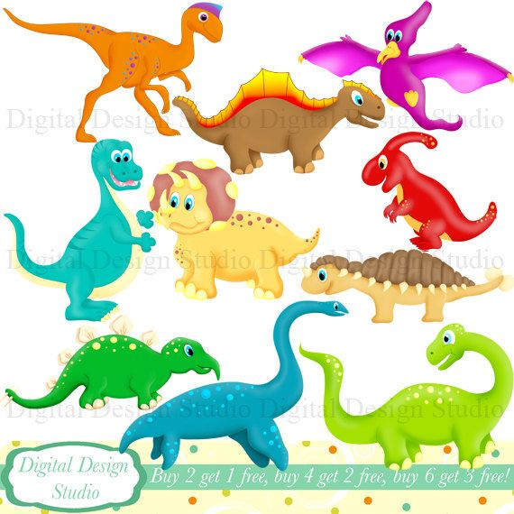 Cute Dinosaurs Clip Art Set With Free Background Instant Download