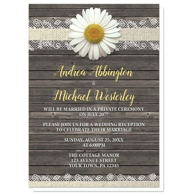 Daisy Burlap and Lace Wood Reception Only Invitations | Wedding ...