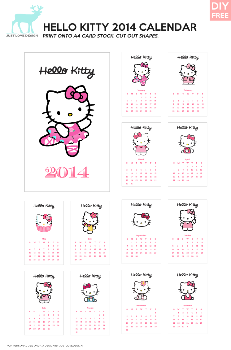 Diy free hello kitty calendar i just love hello kitty free 2014 hello kitty calendar from justlovedesign find this pin and more on do it yourself solutioingenieria Images