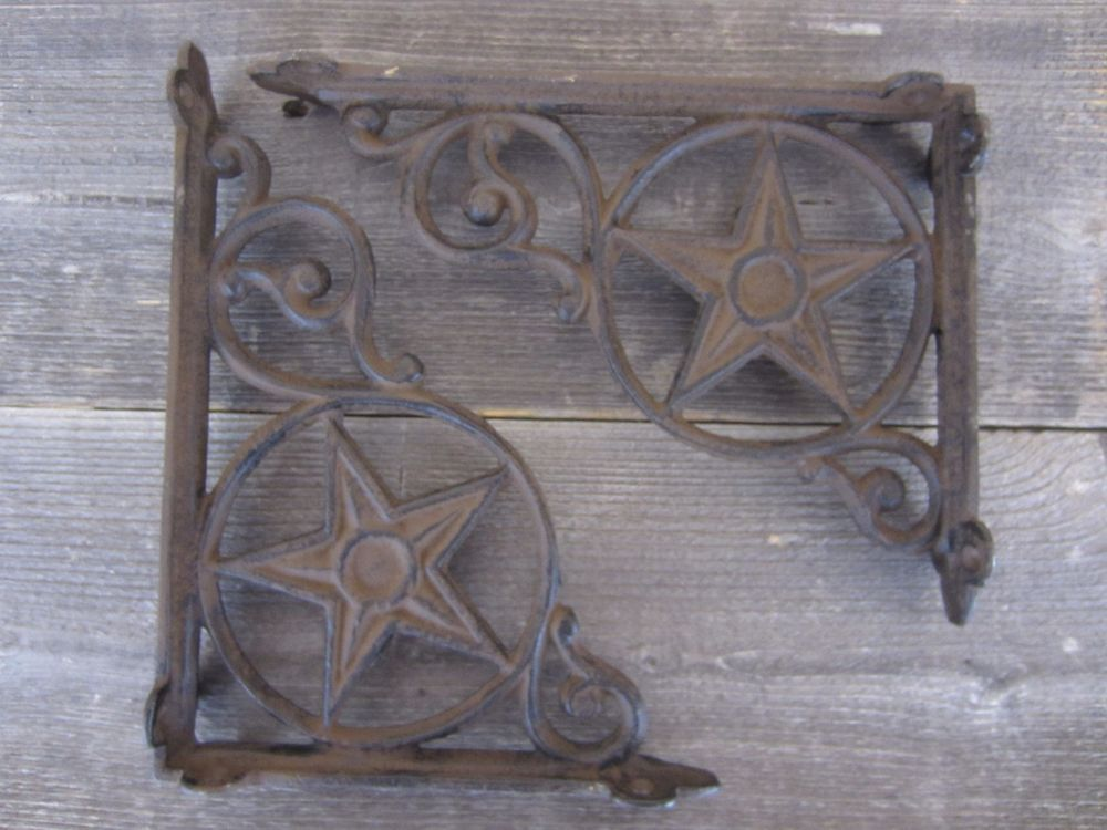 A Pair Vintage Antique Style Iron Bracket Garden Braces Rustic Shelf Bracket