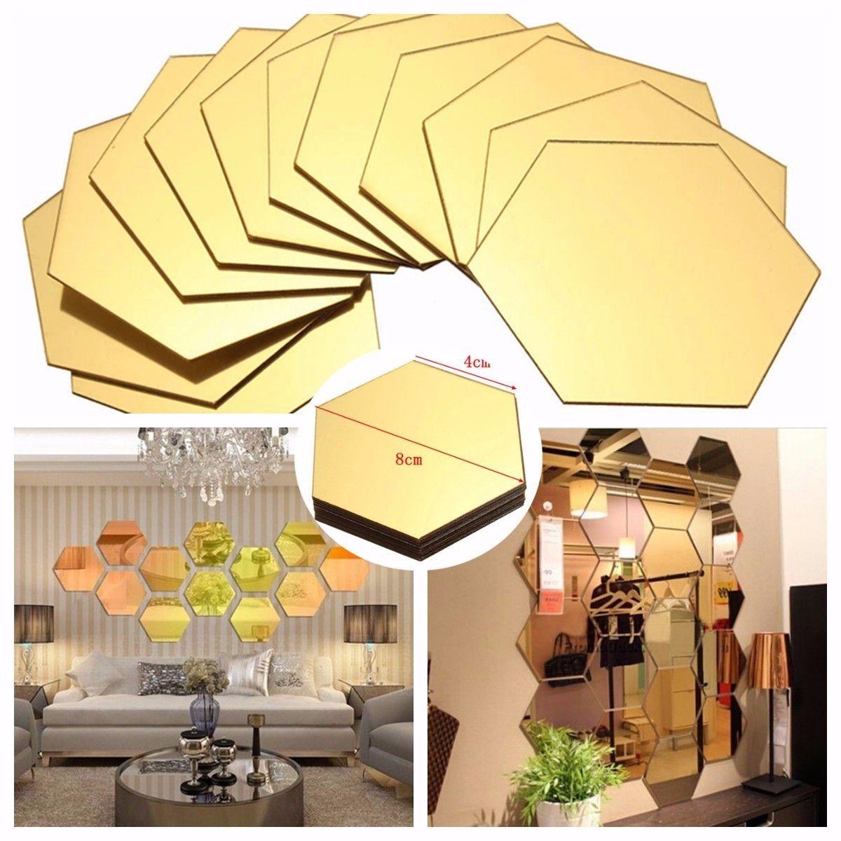 12Pcs 3D DIY Mirror Hexagon Decal Removable Vinyl Wall Sticker Home ...
