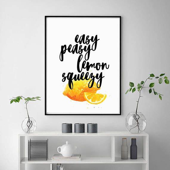 Lemon Print | Bright Wall Art | Kitchen Print | Fruit Decor | Citrus Print |