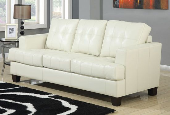 Samuel Collection Cream Leather Sofa By Coaster Home