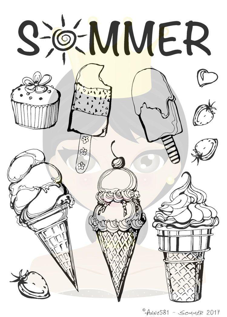 Eis Stempel Set Sommer Stempel Design Schiefertafelzeichnungen Kreidekunst