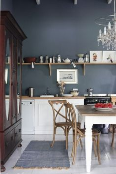 dark kitchen walls - Google Search