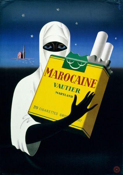 Marocaine cigarette ad by André Simon, 1945