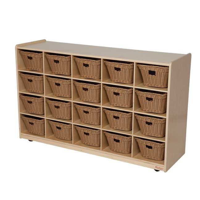 WOOD DESIGNS \\ 20 Tray Storage with Baskets.     GREENGUARD® Gold certified. (20) baskets will store all of your small manipulatives, toys, and supplies to keep them from getting misplaced. All surfaces and back are 100% Healthy Kids™ Plywood with our exclusive Tuff-Gloss™ UV finish.