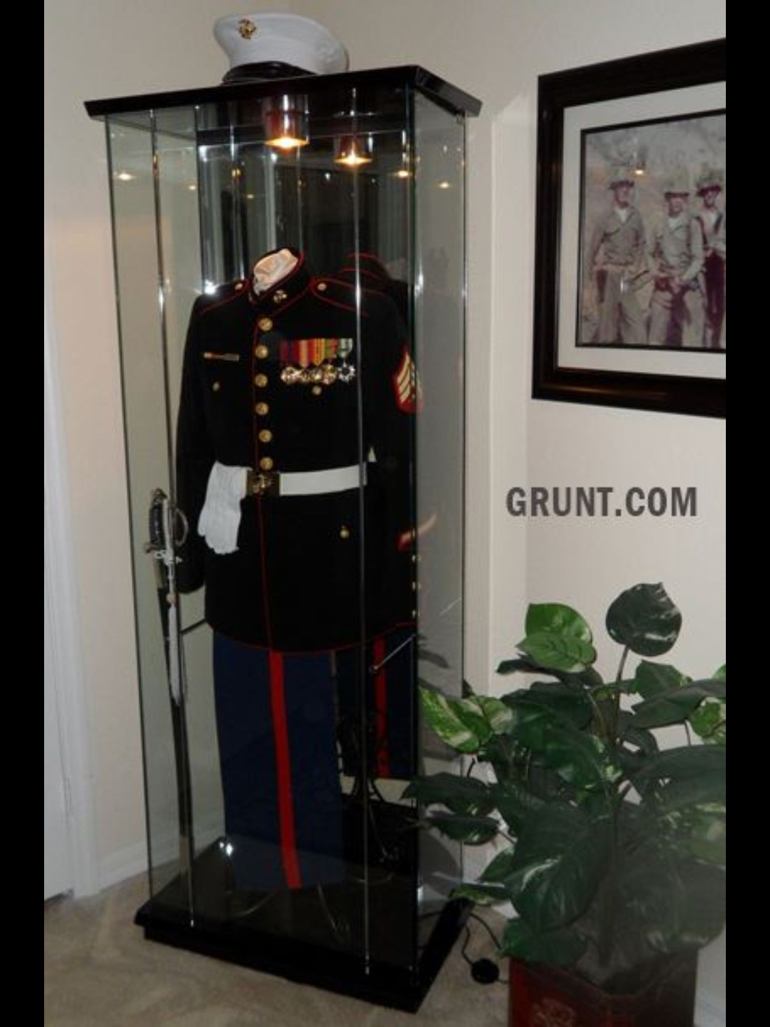 USMC man cave by Sgt  Dan Sheffer via Grunt com  Awesome way toMarine Corps Cooler check out this website it can custom make any  . Marine Corps Themed Room. Home Design Ideas