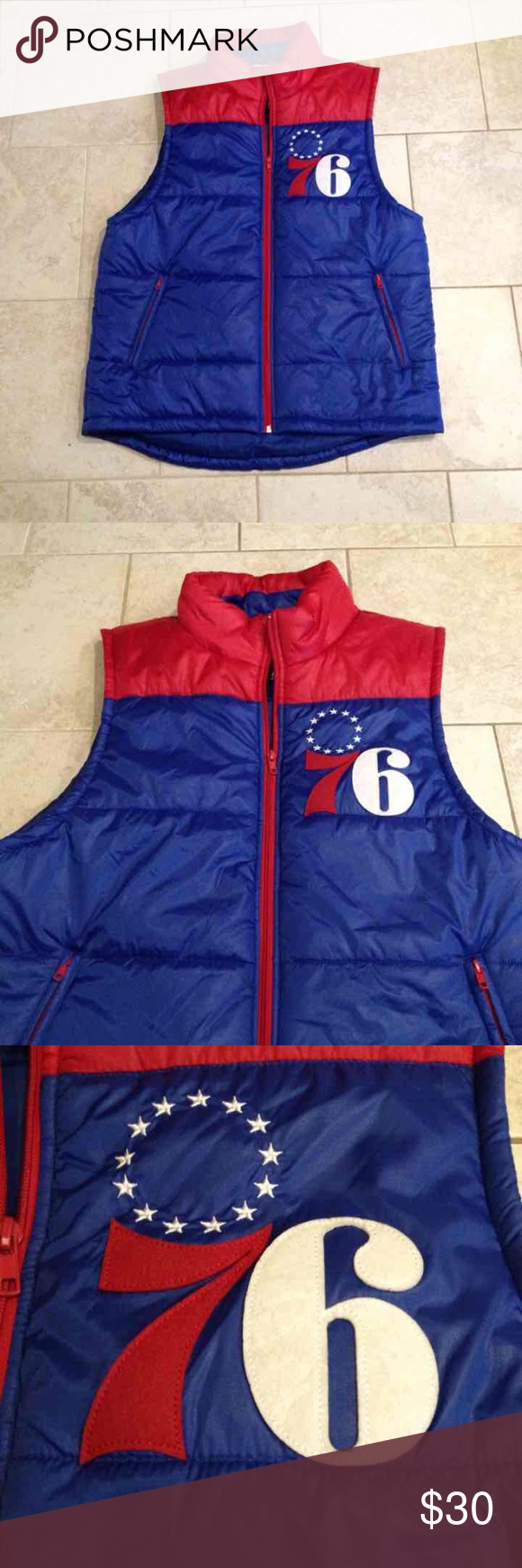 Mitchell & Ness 76ers Vest NWOT Large New without tag, never worn. Has no flaws at all. Size Large in men's. Mitchell & Ness Jackets & Coats Vests