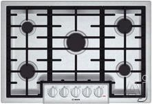 "Bosch NGM8055UC 31"" Gas Cooktop with 5 Sealed Burners, 18,000 BTU Burner, Cast Iron Continuous Grates, Heavy-Duty Metal Knobs, Centralized Controls and Low-Profile Design: Stainless Steel"